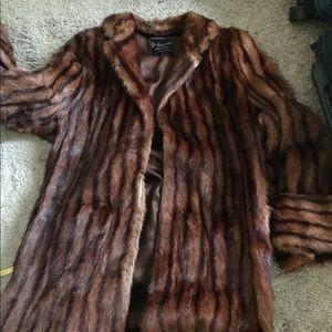 Stripes Real fur coat - size large - make an offer